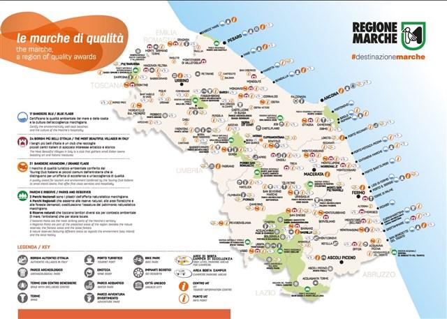 Marche Cartina Stradale.Mappa Delle Marche Di Qualita