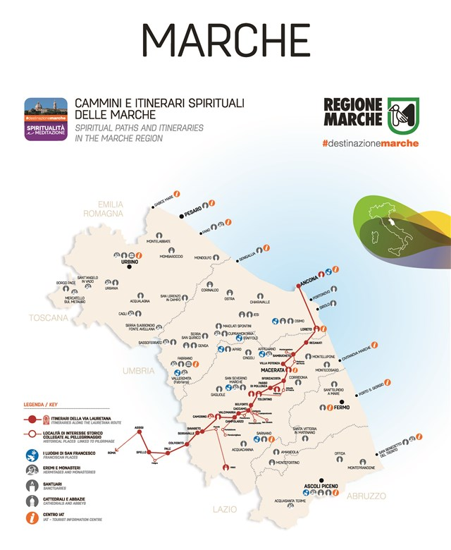 Litorale Marche Cartina.Da Assisi A Loreto I Cammini Lauretani