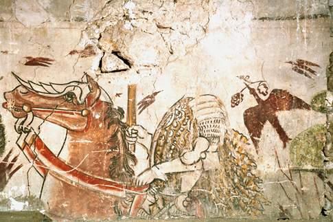 Ciclo di affreschi raffigurante un corteo di Cavalierei della Famiglia Varano