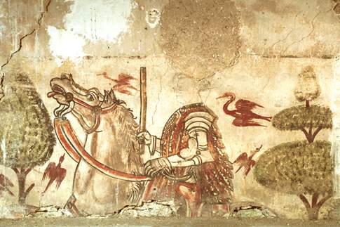 Ciclo di affreschi raffigurante un corteo di Cavalieri della Famiglia Varano
