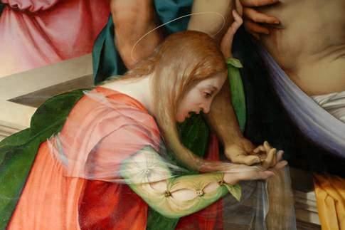Deposizione, particolare con Maria Maddalena