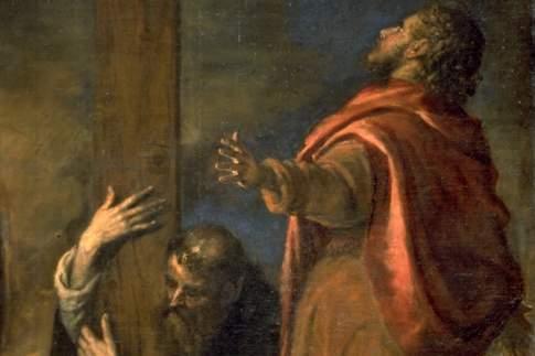 Crocifissione, particolare con i Santi Domenico e Giovanni