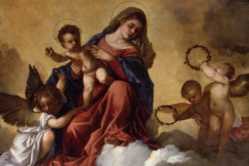 Pala Gozzi, particolare con la Madonna e il Bambino