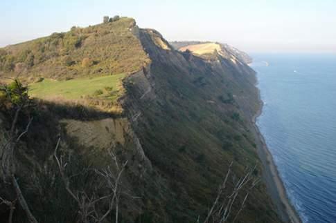 Falesia a picco sul mare nel Parco del Monte San Bartolo