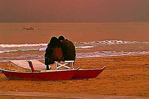 Tramonto sulla spiaggia di Civitanova Marche